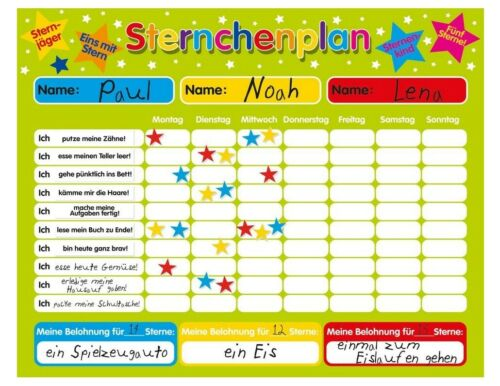Magnetischer Sternchenplan Belohnungstafel für bis zu drei Kinder Feste Tafel,