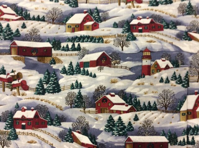 WINTER SCENIC BARNS IN THE SNOW FABRIC  BY CONCORD  3/4 YARDS