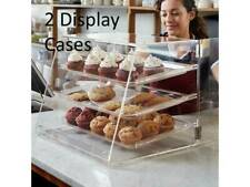 2 Pack 3 Tray Bakery Clear Acrylic Pastry Display Case With Rear Doors Counter