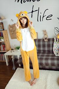 Image is loading Unisex-Adult-Kigurumi-Pajamas-Anime-Cosplay-Costume- Rilakkuma- c77b11b4d45a5