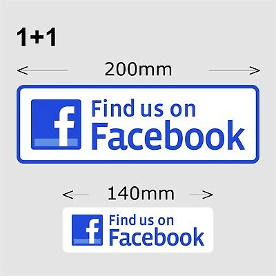 2x Find Us On Facebook Stickers 200 mm wide high quality