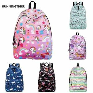 Details About Women Rainbow 3d Unicorn Canvas Backpack Travel School Bags Rucksack Handbags