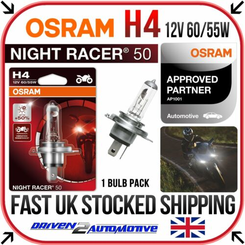 1x OSRAM H4 NIGHT RACER 50 BULB FOR Yamaha XVS 650 A Cruiser 1998-2007 UPGRADE