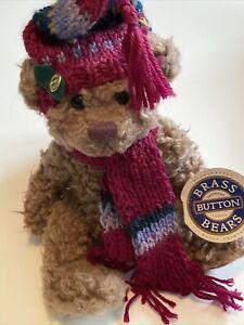 "Brass Button Bears Dooley Plush 11"" Stuffed Animal Beanie Winter Scarf 1996 VTG"