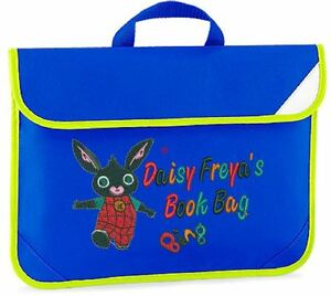 Image Is Loading Personalised Embroidered Kids Book Bag For School Bing