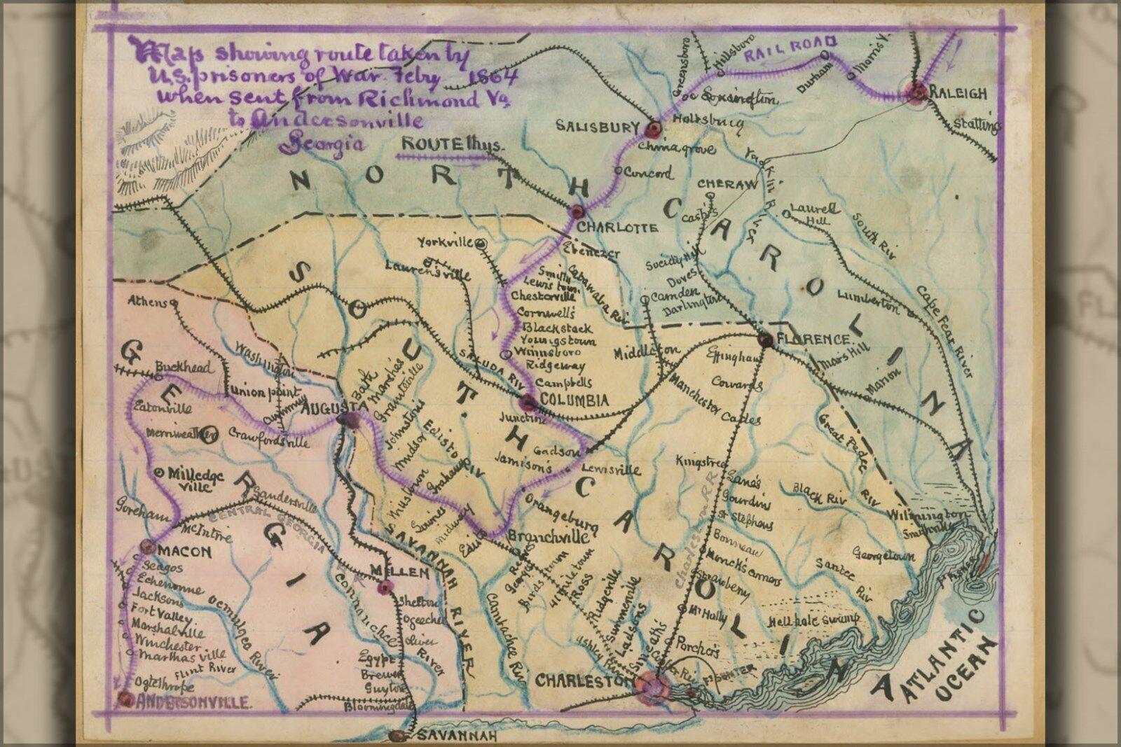 Poster, Many Größes; Map Route U.S. Prisoners Of War Andersonville
