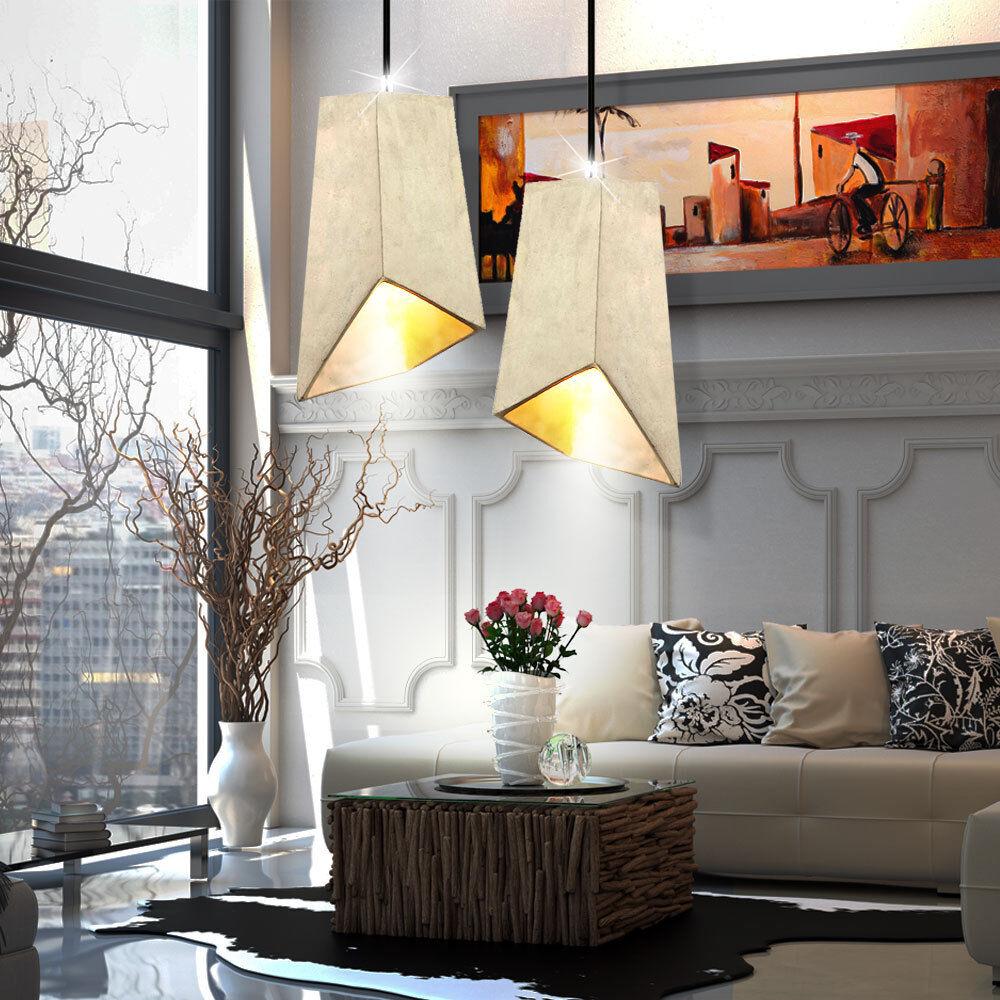 Ensemble de 2 plafonniers suspendu éclairage salon lampes suspendues béton gris