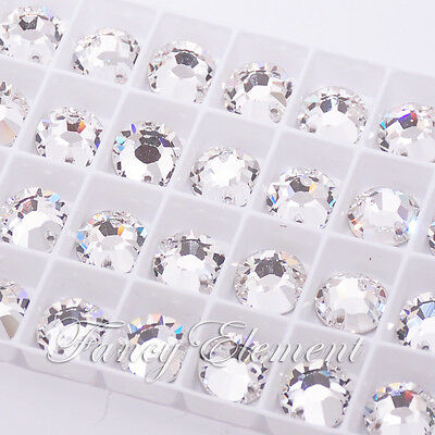 Swarovski Crystal Round 3204 Clear 12mm XILION Sew On Rhinestone Foiled Flatback