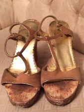 Womens Shoes Bongo 8.5 Worn Used Cork Heels 4.25 Heel Brown