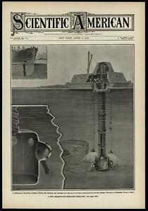 Submarine-used-for-diving-salvage-work-1908-Scientific-American-cover-print