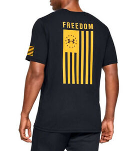 984b26797 Under Armour UA Freedom Flag Logo Charged Cotton® Black Yellow T ...