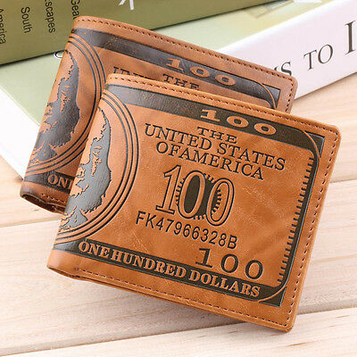 US Dollar Bill Wallet PU Leather Wallet Bifold Credit Card Photo Thrifty EF