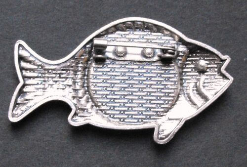 lucky sixpence King George head Fish Brooch badge fishing tackle lure vintage