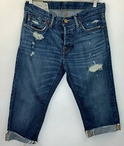 Abercrombie Mens Size 30 Jeans Distressed Cut For Womens Diy Shorts Blue Button Ebay