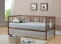 Copper Finish Metal Astoria Day Bed (daybed) Frame With Trundle & Mattresses on Sale