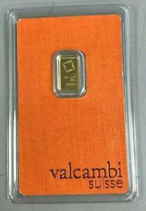 Valcambi Suisse 1 Gram Gold Bar .9999 Sealed With Assay Certificate 24 Karat