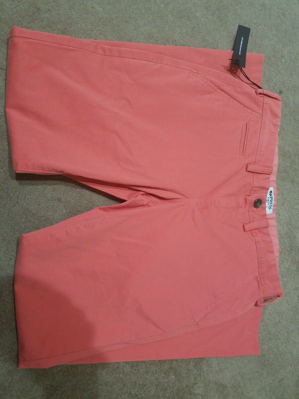 Nwt Mens Express slim fit pants 31 30 light orange coarl peach Fin