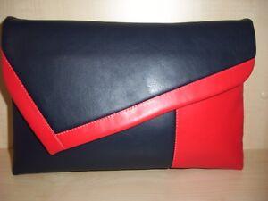 scuro e blu Pochette asimmetrica Unito in Regno Fatto mano a similpelle nel rosso cfqqXIOW