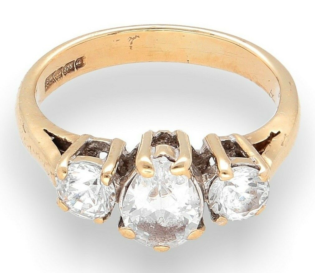 9Carat Yellow gold Simulated Diamond Three-Stone Ring (Size J 1 2) 6mm Widest