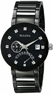 Bulova Men's 98D109 Quartz Diamond Markers Black Bracelet 40mm Watch