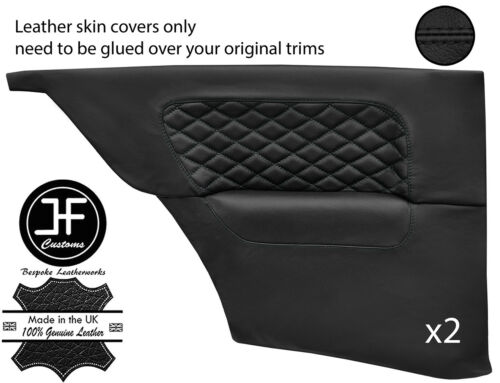BLACK DIAMOND STITCH 2X REAR DOOR CARD LEATHER COVERS FOR BMW E30 COUPE
