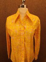 Hobo Shirt Vtg 60s 70s Whimsical Folk Print Button Down Casual Shirt 34