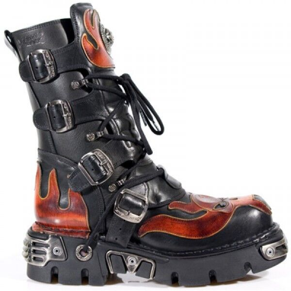 New Rock New Rock 107 S1 Red Skull Black Devil Black Skull Leather Biker Goth Rock Boots fb3f18