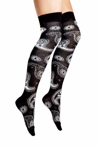 Ladies//Women Paisley patterned on Black Over Knee Socks shoe size 4-8