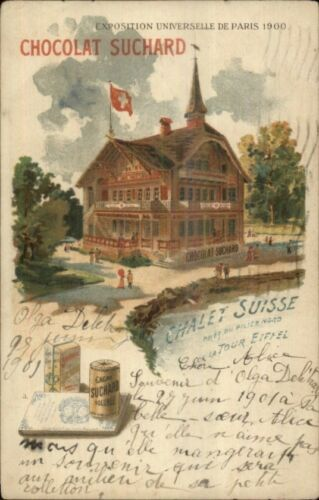1900 Paris Expo Universelle Chalet Suisse Chocolat Suchard Postcard