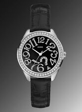 NEW GUESS QUIZ QUESTION ? LOGO SS SILVER LADY WATCH BLACK LEATHER STRAP G76030L