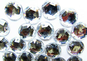 60-Crystal-Clear-Faceted-Beads-Acrylic-Rhinestone-Gems-15-mm-Flat-Back-Sew-On