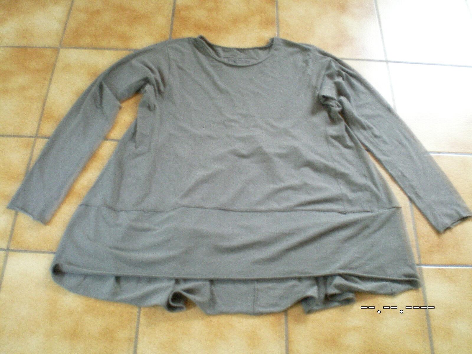 Rundholz schwarz Label,Shirttunika Tunika Shirt,lang,zinc,Gr.L(OS),Lagenlook
