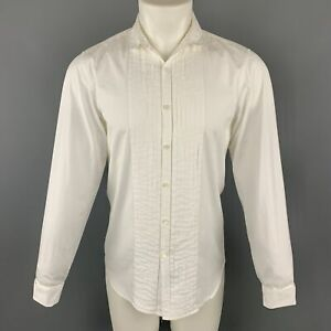 BURBERRY-Size-S-White-Cotton-Pleated-Double-Collar-Button-Up-Long-Sleeve-Shirt