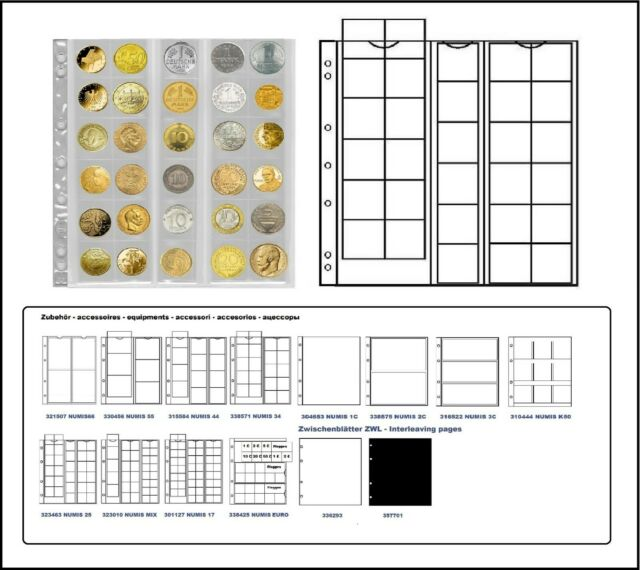 1 X Lighthouse 323463-L coin sheets NH30 Numis 25 For Coins To 25 mm