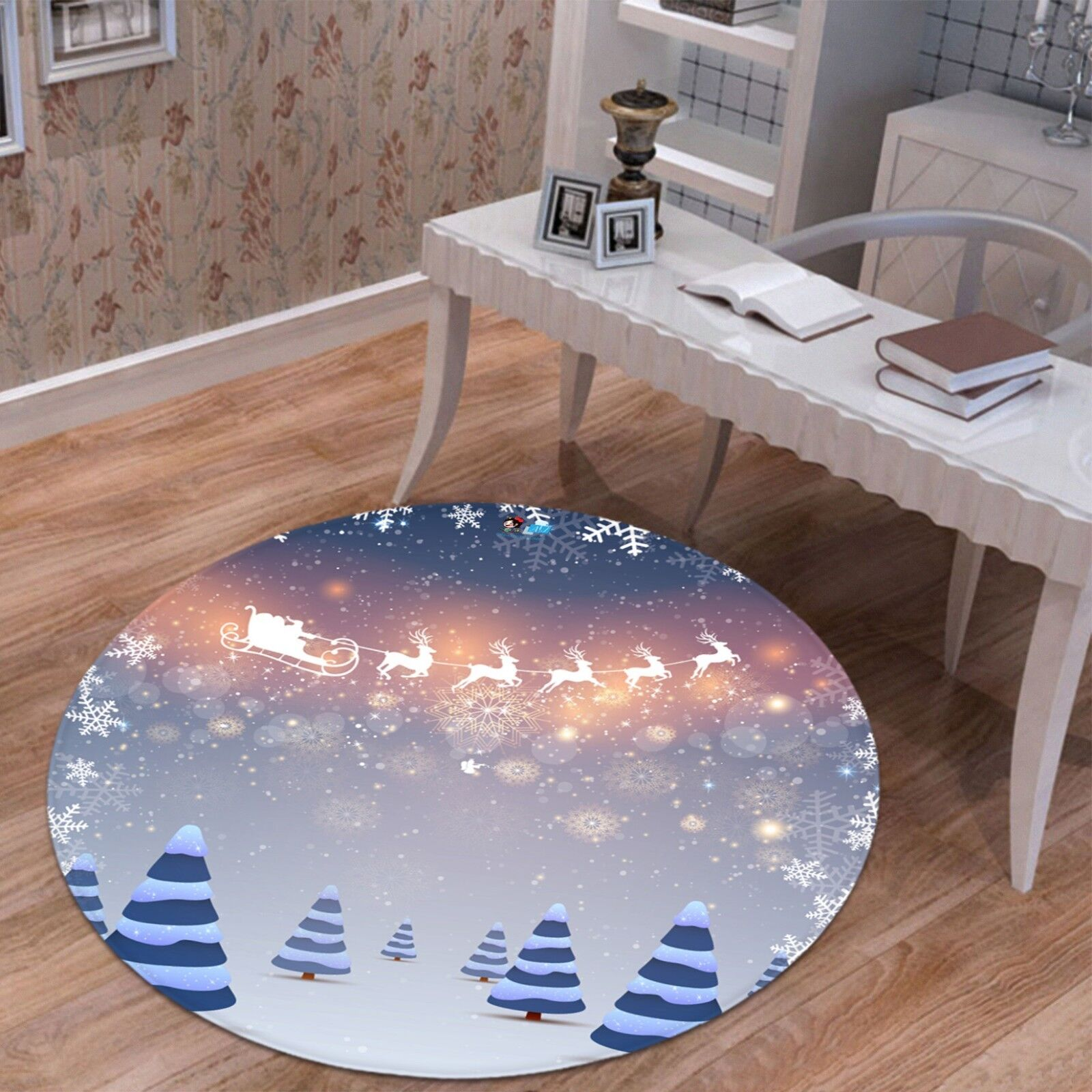 3D Christmas Xmas 620 Non Slip Rug Mat Mat Round Quality Elegant Photo Carpet UK