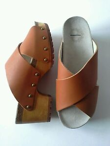 Urban-Outfitters-Ecote-Crisscross-Studded-Tan-Leather-Platform-Clogs-Size-6