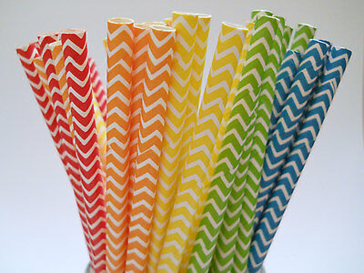 25x Chevron Paper Straws,Wedding Bridal,Baby Shower,Event Party Drinking Straws