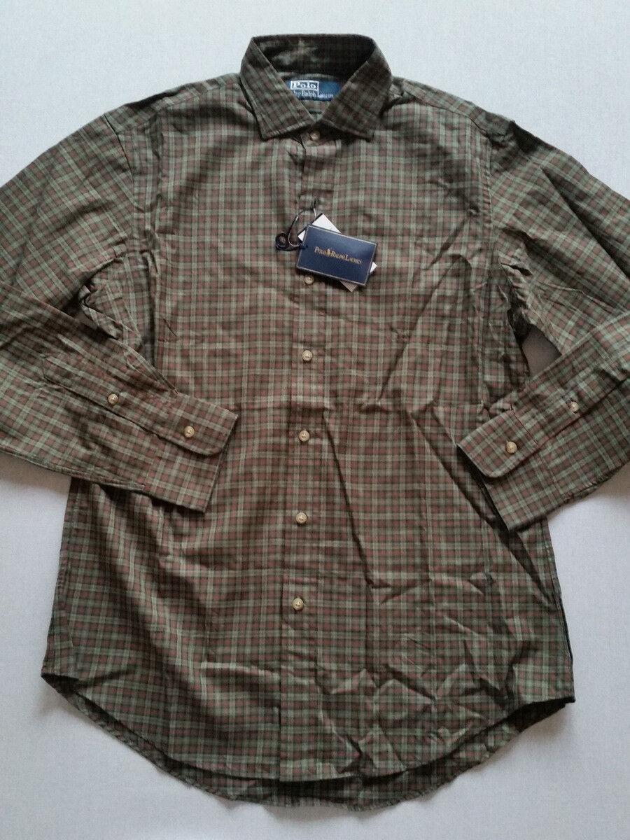 Ralph Lauren Shirt Long Sleeve Dark Green Plaid SIZE M, XL New