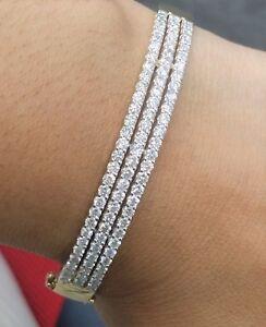 Deal-3-00CT-Natural-Genuine-Diamond-Tennis-Bangle-Bracelet-14K-White-Gold