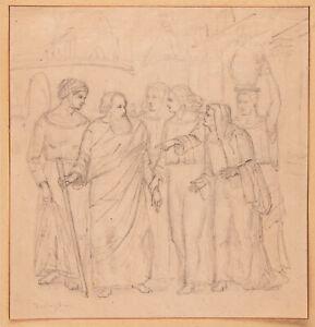 Anonym - Biblische Szene - Bleistiftzeichnung - Signiert - um 1800