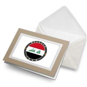 Greetings-Card-Biege-Iraq-Baghdad-Flag-Travel-Stamp-5620