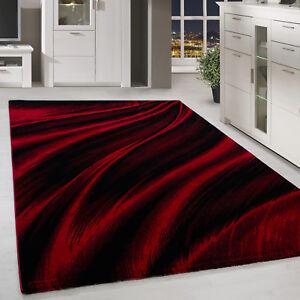Détails sur À Poils Ras Tapis Moderne Abstraite Ombre Motif Salon Rouge  Noir Moucheté