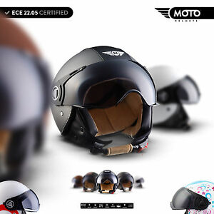 MOTO-H44-CASQUE-MOTO-JET-DEMI-JET-HELMET-SCOOTER-RETRO-CHOPPER-BOBBER-XS-XL