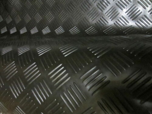 Superior Black 5 barcheck plate Garage Van Shed Rubber Flooring Matting 1.5M W