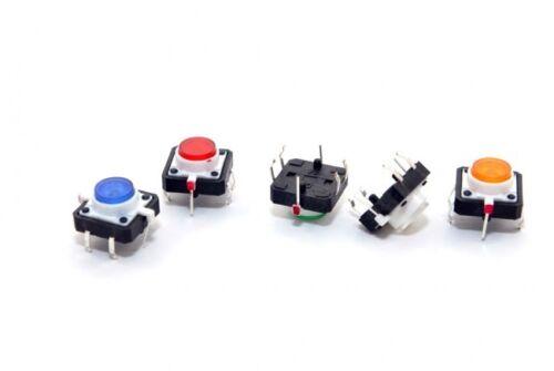 LED Lamp Momentary Tactile Push Button Switch 4 Pin PCB 12 x 12 x 7mm 5 PCS