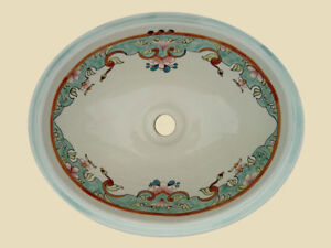 Details About 013 Mexican Ceramic Bathroom Sink Hand Paint Drop In Undermount