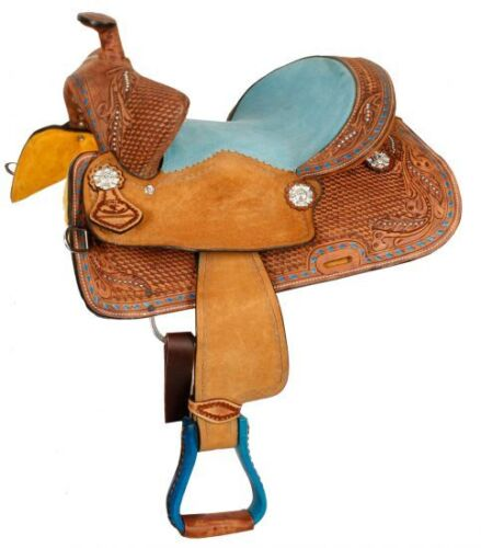 """Youth Bear Trap Style Saddle Turquoise Seat Full QH Bars 12/"""" or 13/"""" NEW"""