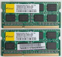 Elixir 4GB (2x2GB) PC3-10600S DDR3-1333 1333MHz Laptop Memory Ram