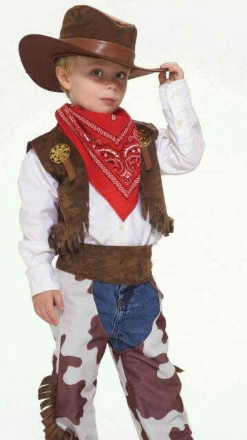 Boys Childs Cowboy Kid Rodeo Western Sheriff Costume - Small Size 4-6 - Cow 18fb3b5274b
