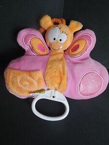 Doudou-peluche-musical-papillon-rose-orange-LIBOO-14cm